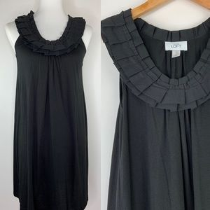 LOFT Ruffle Neckline Shift Dress Size XS Black